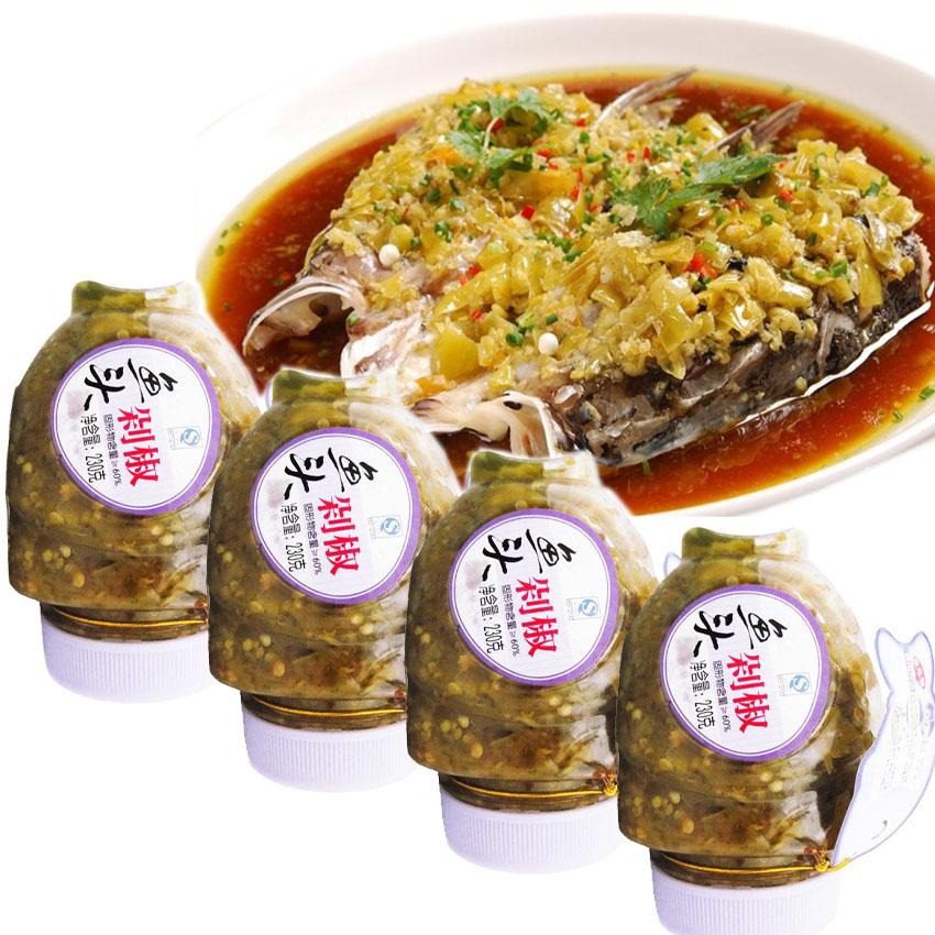 【贺福记】鱼头剁椒 湖南剁辣椒酱 调味品 特产调料 230g*4瓶