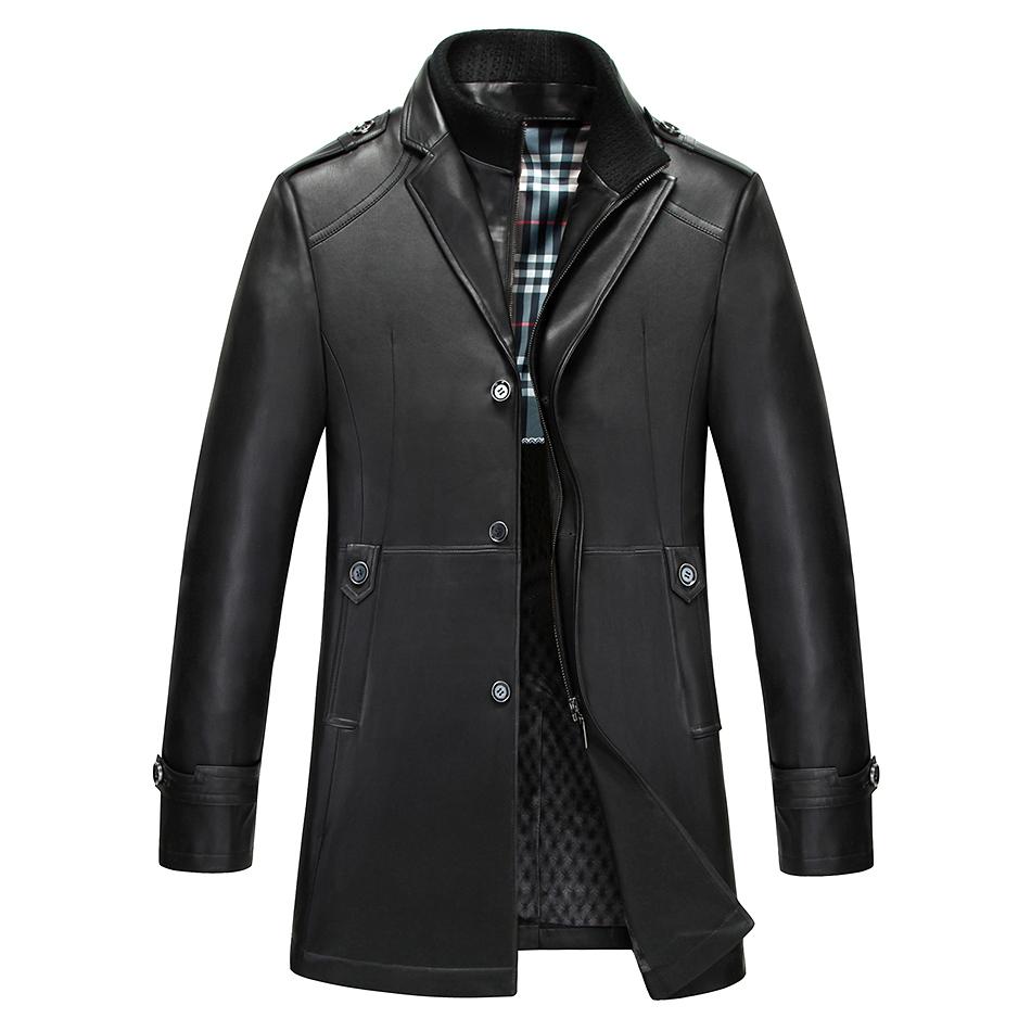 秋季男裝綿羊皮真皮皮風衣男士中長款修身皮衣商務休閑海寧皮外套圖片