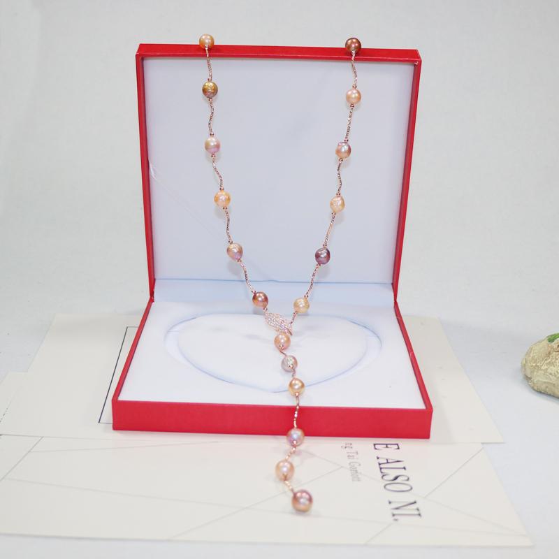 长款项链单双层佩戴 天然异形珍珠女毛衣链 12mm 10 爱迪生巴洛克