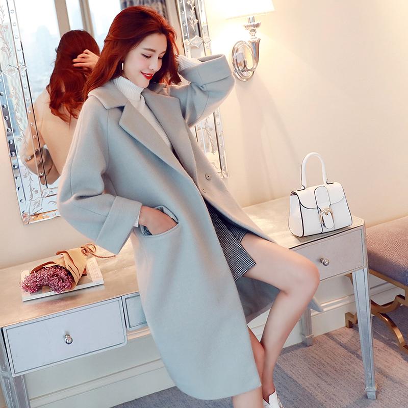 2017秋冬季新款加厚宽松中长款毛呢外套女过膝韩国茧型呢子大衣