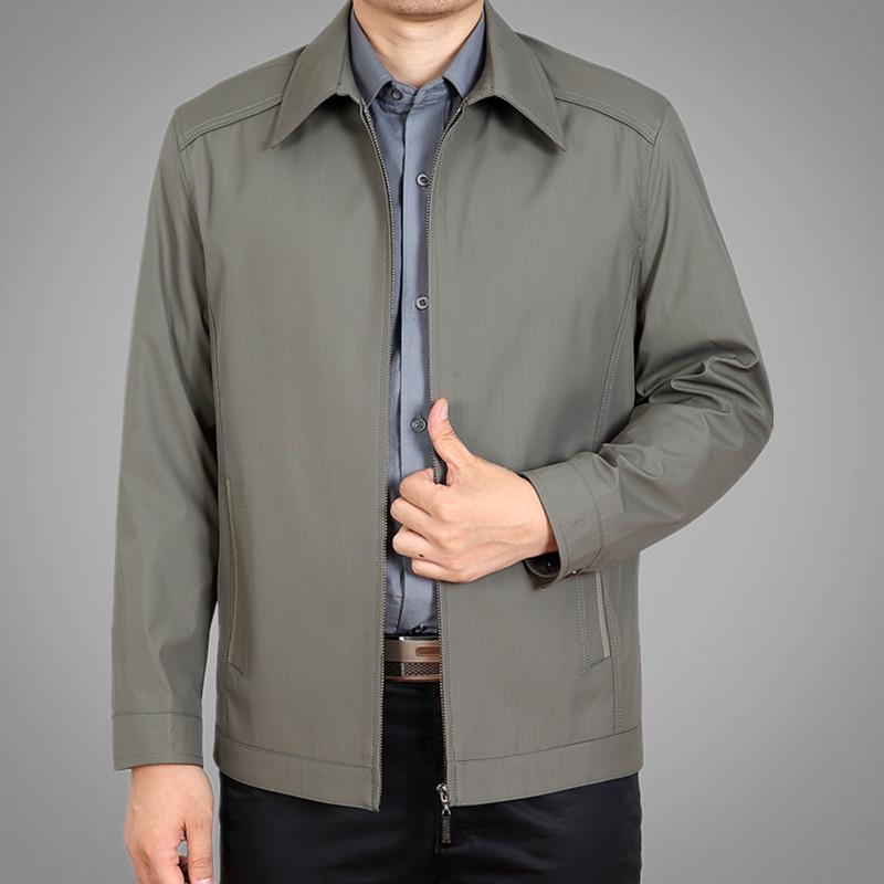 春秋薄款中年夹克男外套爸爸装商务休闲翻领夹克衫中老年上衣男装