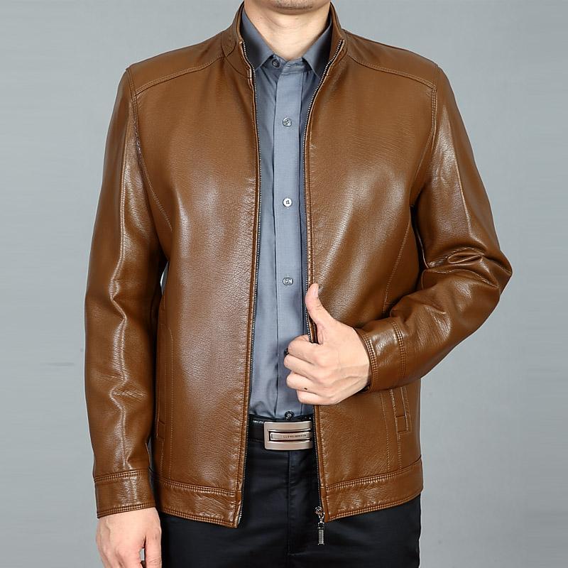 新款海宁中年皮衣男士大码中老年皮夹克爸爸装休闲男式薄款外套春