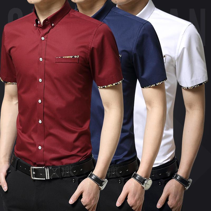 夏季衬衫男式修身衬衣半袖短袖休闲青年商务纯棉