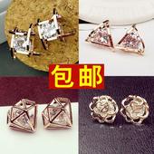 韩国新款奥地利水晶18k玫瑰金花朵精致锆石耳钉不对称耳饰耳环女