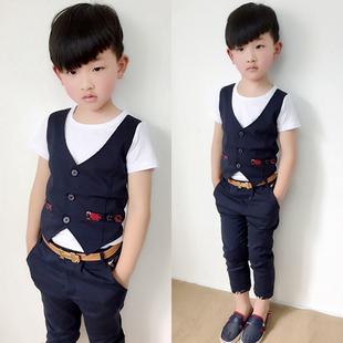 夏季韩版男童套装假两件套马甲T恤儿童短袖西装礼服中裤花童英伦