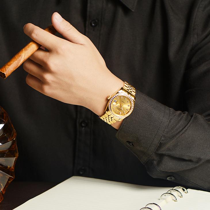 土豪金色精钢夜光防水镂空全自动机械表18k男士名牌手表