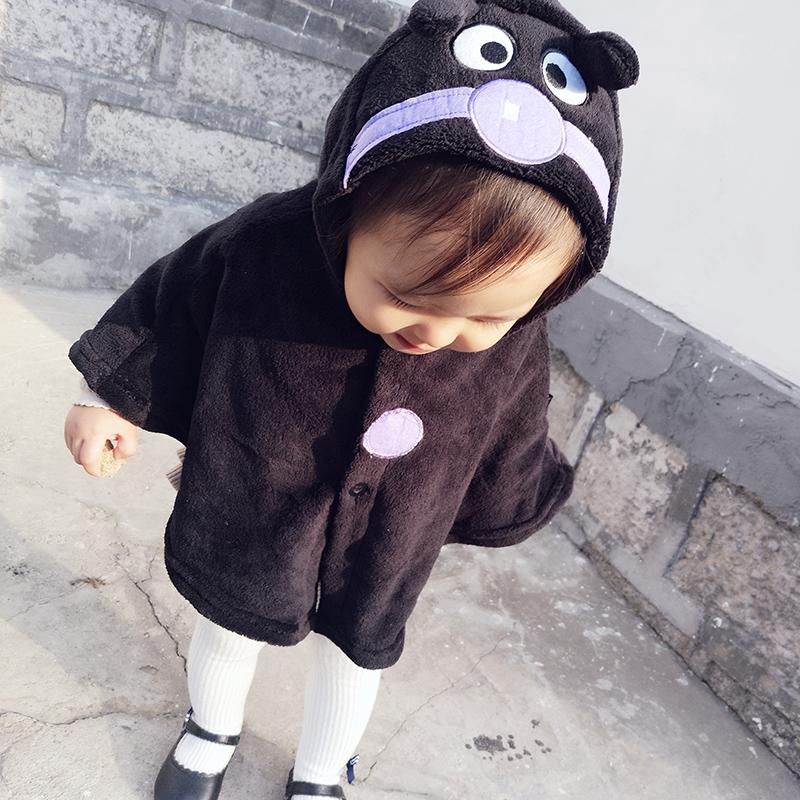jojo秋冬婴童可爱卡通眼睛耳朵毛绒保暖连帽斗篷男女宝宝披肩披风