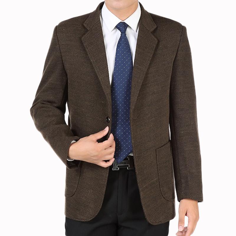 中年男休闲西服厚款外套男秋冬爸爸装加厚单件西装上衣中老年男装