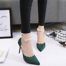 显瘦透气女鞋 韩版 女时尚 2017春夏新款 性感镂空细跟包头凉鞋 高跟鞋