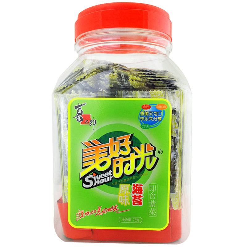 休闲食品 海苔制品 75g 喜之郎美好时光桶装海苔 天猫超市