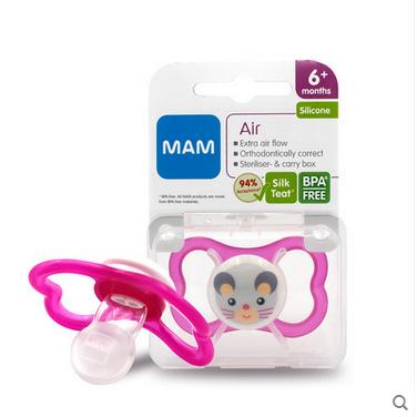 包邮MAM透气型母乳丝感硅胶安慰安抚奶嘴6-18宝宝婴儿安睡带消毒