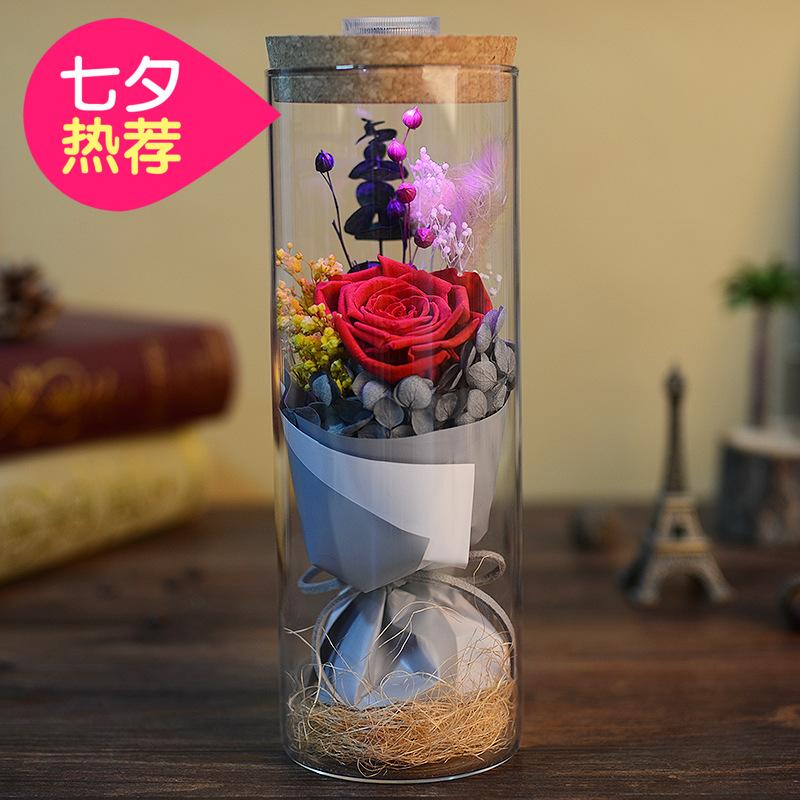 七夕情人节礼物七彩发光永生玫瑰花礼盒创意生日礼物女生送女友
