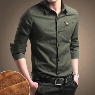 秋冬男式加绒新款军旅工装男士长袖衬衫纯棉韩版青年修身商务男装