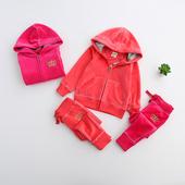 女童皇冠金丝绒卫衣长裤两件套 2017年春季新款童装儿童时尚套