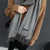 JHXC 柔软韩国羊绒纯色百搭长款流苏围巾女冬季学生披肩两用韩版