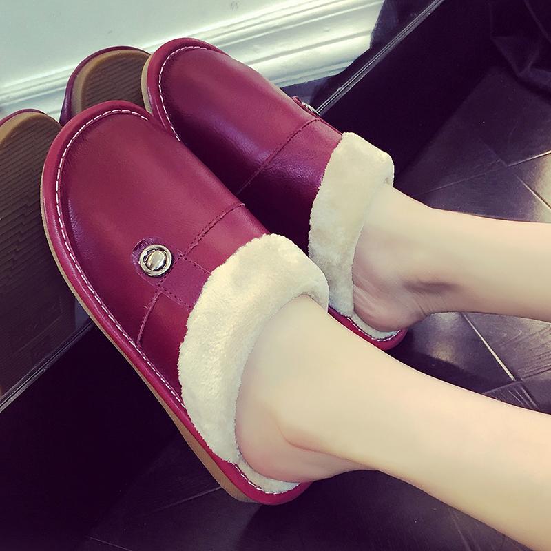 室内简约居家冬天韩国情侣冬季真皮拖鞋可爱家用毛绒