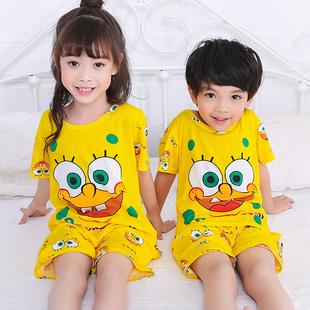 夏季儿童睡衣短袖男童女童可爱卡通中大童小孩宝宝家居服薄款套装