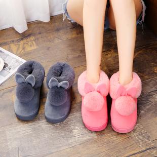棉拖鞋秋冬季男女情侣家居家保暖厚底室内可爱半包跟毛毛拖鞋冬天