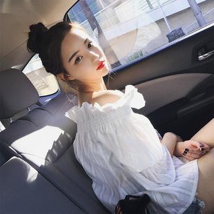 钱夫人CHINSTUDI 春装韩版露肩一字领灯笼袖白衬衫女百搭学生衬衣