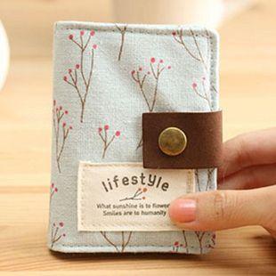 小清新卡包女式多卡位布艺韩国可爱学生碎花卡包包邮20卡位