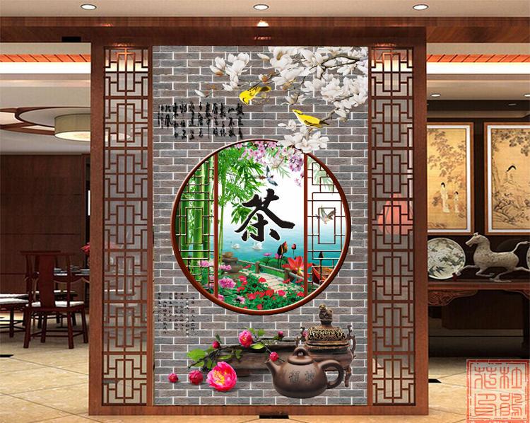 茶道茶文化客厅背景墙装饰画壁纸茶馆茶庄茶楼茶叶店墙纸壁画