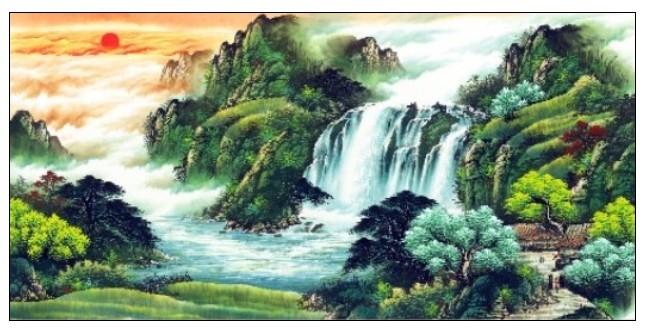 芯山水用于家居客厅画山水纯手工绘制国画四尺、手绘国画国画