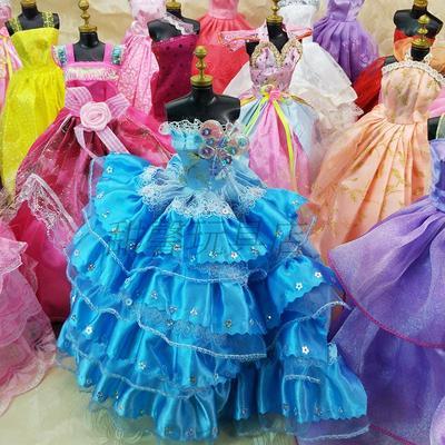 6分换装芭芘巴比洋娃娃蓬蓬礼服裙过家家玩具配件公主宫廷修身裙