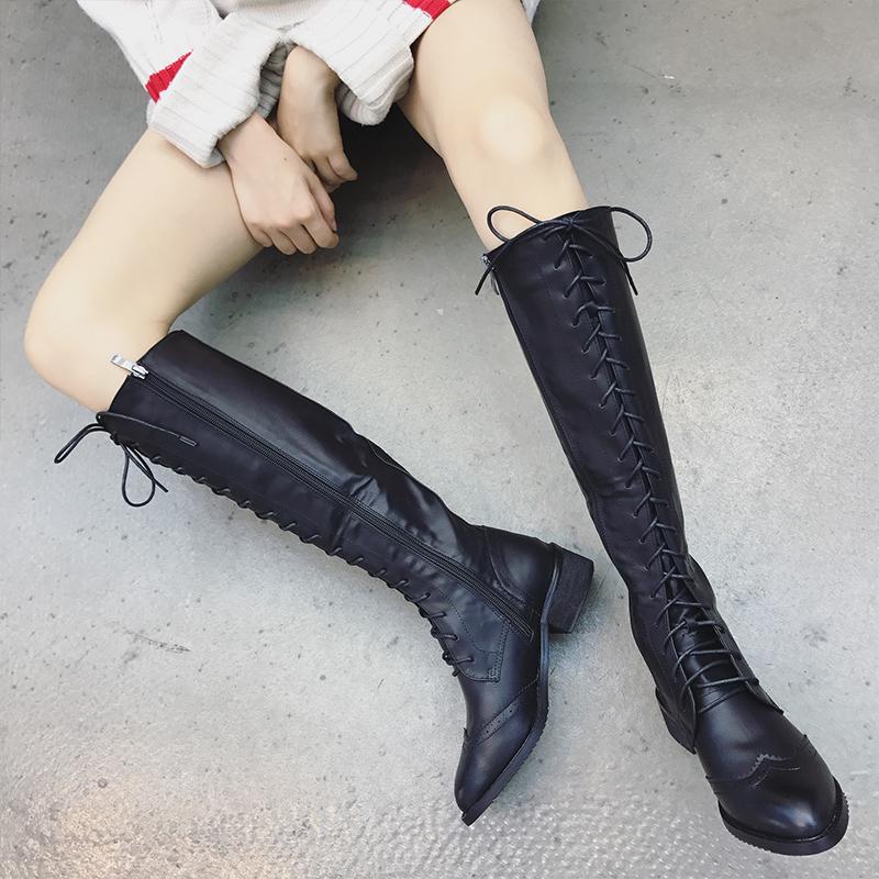 复古马丁靴女英伦风2017秋冬新款过膝长靴百搭系带显瘦高筒机车靴