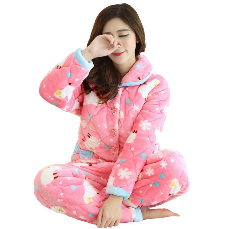 【天天特价】睡衣女冬季加厚加绒珊瑚绒夹棉三层法兰绒甜美家居服