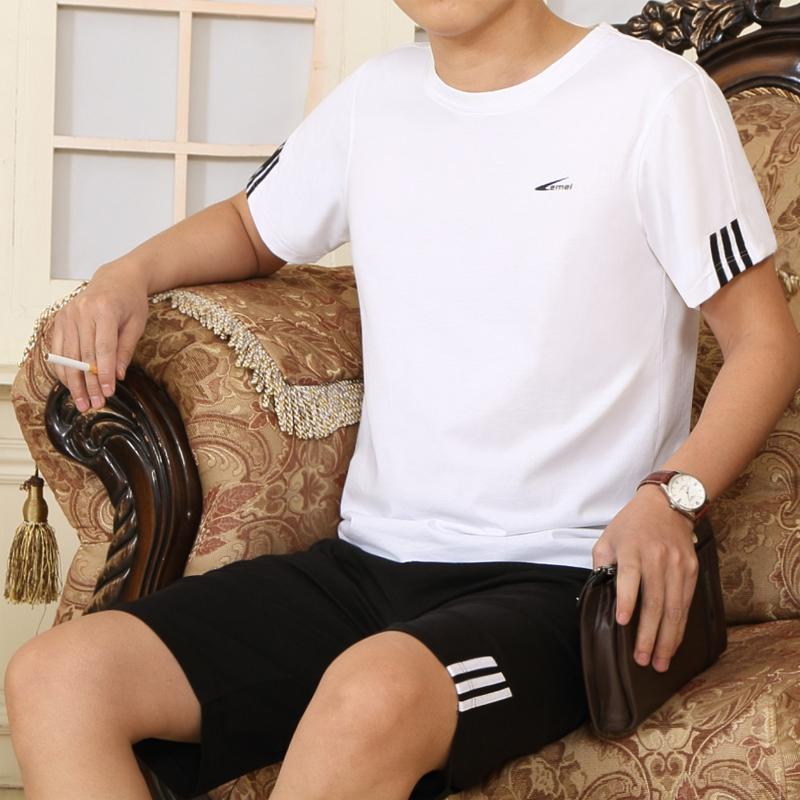 男士加大中年運動服 純棉中老年夏季短褲運動套裝短袖