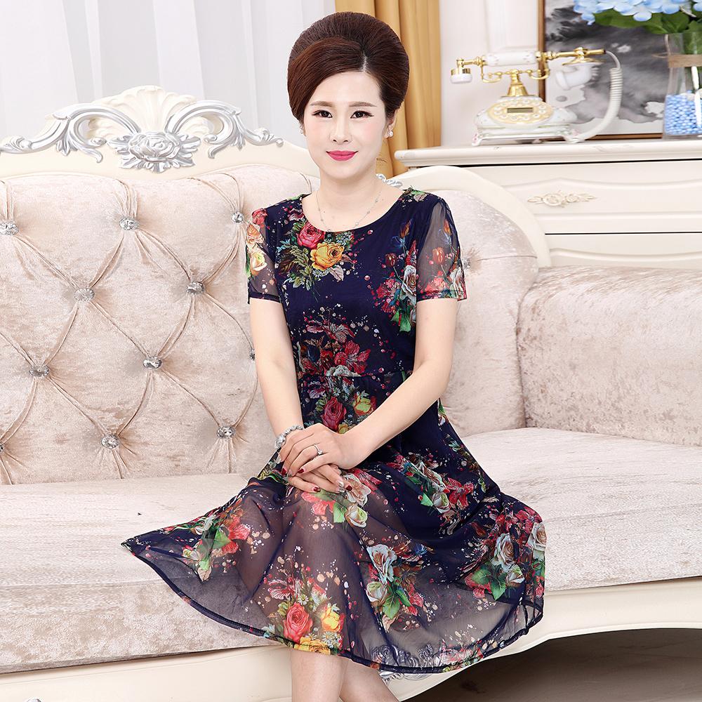 中老年裙子中年裝雪紡媽媽長款夏裝女裝連衣裙短袖