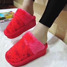 松糕底流行女鞋 高跟厚底潮款 坡跟平底防滑冬季拖鞋 棉拖鞋 新款