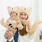 韩版亲子加绒秋冬天男女童儿童围巾帽子手套三件套装一体护耳帽