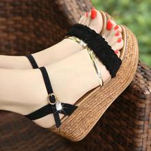 天天特价夏季坡跟凉鞋女夏韩版学生平底沙滩鞋厚底松糕高跟女鞋子