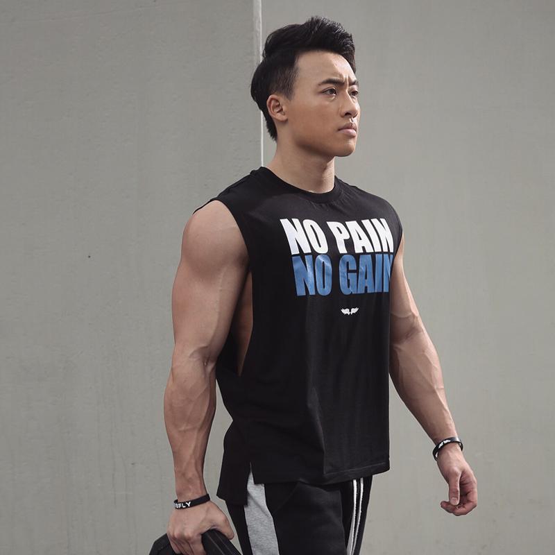 BLUESFLY 专业宽松款速干健身背心健美训练无袖T恤男运动背心棉