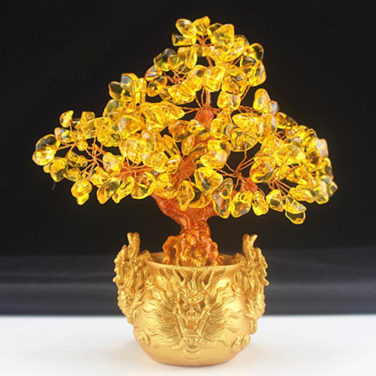 黄水晶手工摇钱树摆件 招财树家居酒柜装饰品客厅小摆件发财树