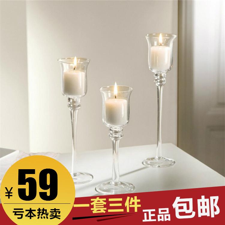 欧式透明玻璃蜡烛台创意浪漫时尚高脚酒杯式烛台婚庆