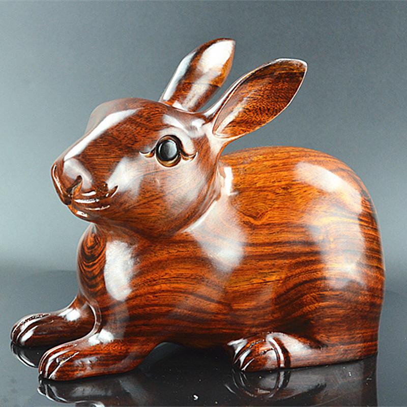 红木花梨木木雕兔子招财风水木质小狗小猪小鸡小老鼠