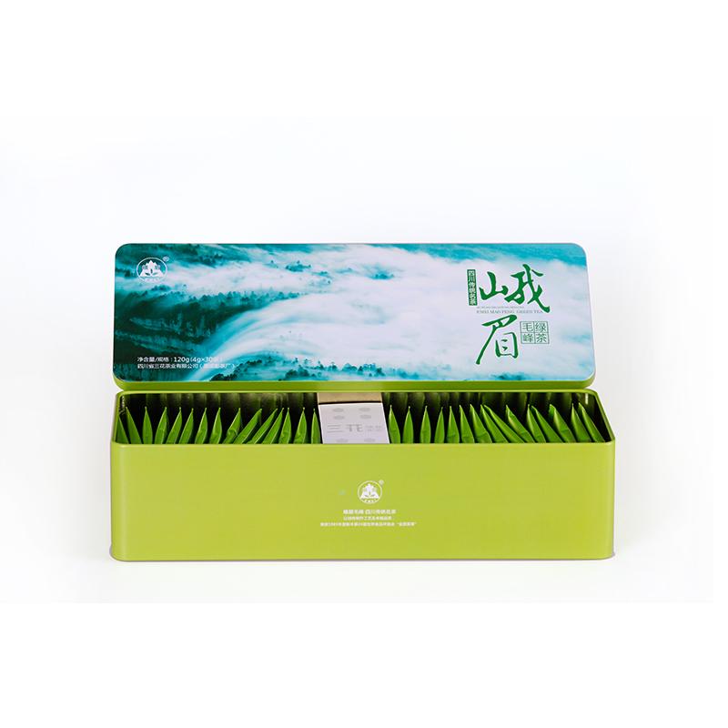 120g三花茶叶峨眉毛峰绿茶老成都茶叶铁盒茶