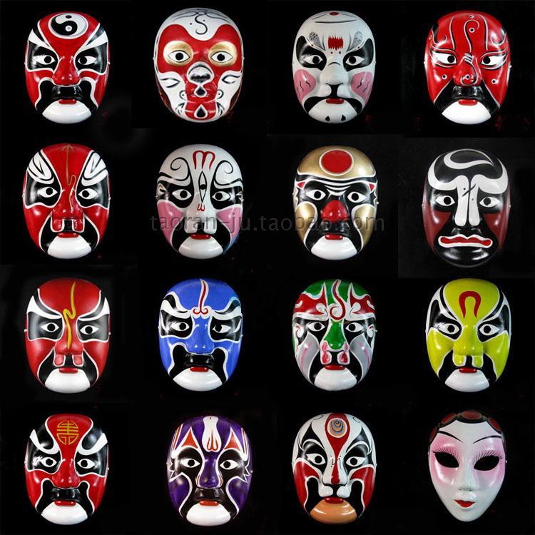 中式脸谱京剧脸谱可佩戴演出面具道具亦可做为房间装饰成人面具图片