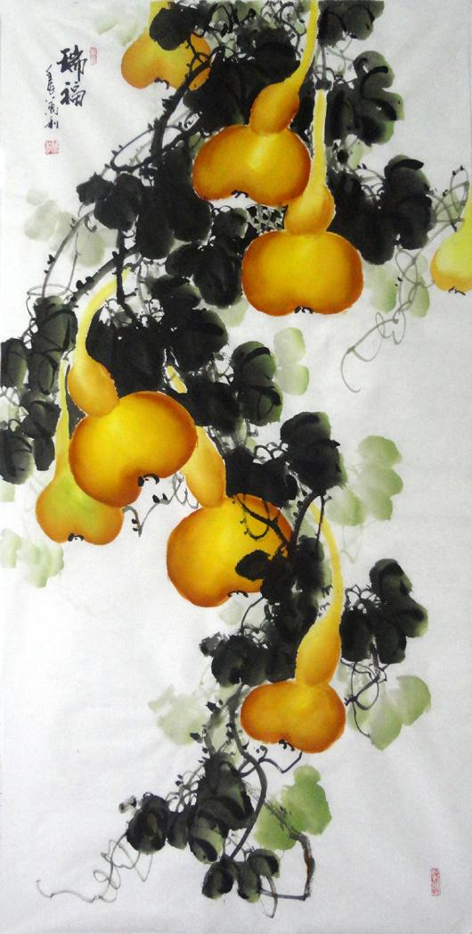 13031207家居装饰精品万利手绘原稿-瑞福葫芦作品花鸟四尺国画