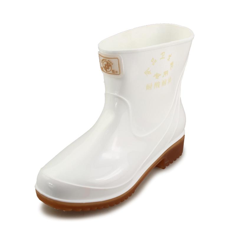 双星春夏季半筒水鞋女款卫生食品靴工作防滑防水中筒雨靴白色雨鞋