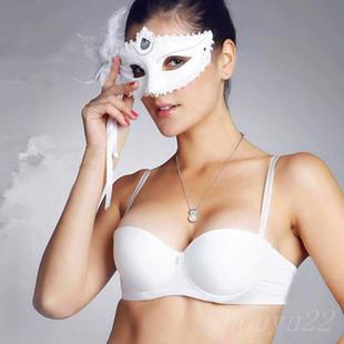 1/2半罩杯小胸聚拢文胸性感加厚无带防滑隐形内衣白色二分之一夏