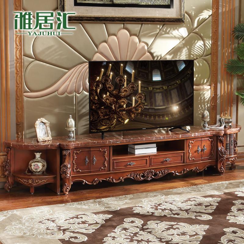雅居汇欧式电视柜地柜储物矮柜客厅家具实木雕花欧式