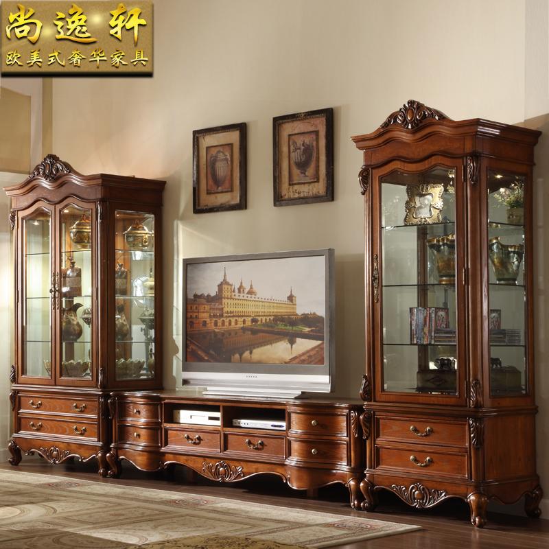 实木电视柜酒柜组合 美式电视机柜背景墙柜