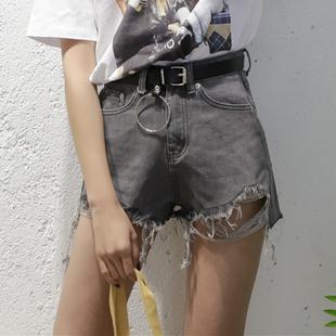 韩版春装女装时尚破洞毛边牛仔短裤高腰百搭阔腿裤学生牛仔裤显瘦