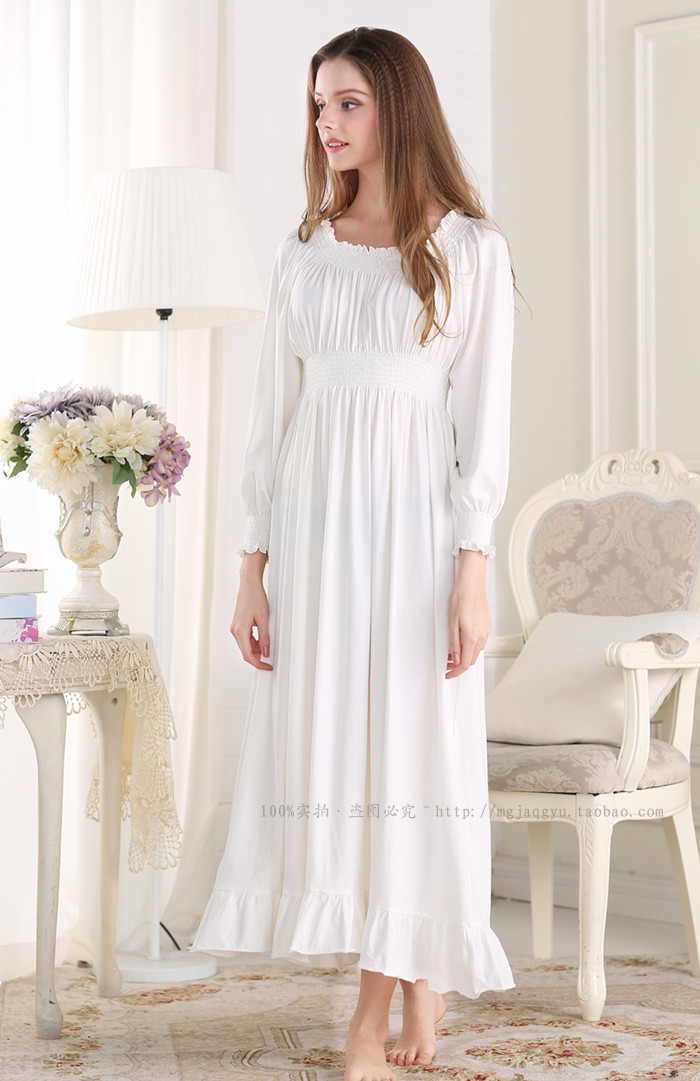 Women\'s Cotton Long Sleeve Lace V Collar Tea Length Nightgown ...