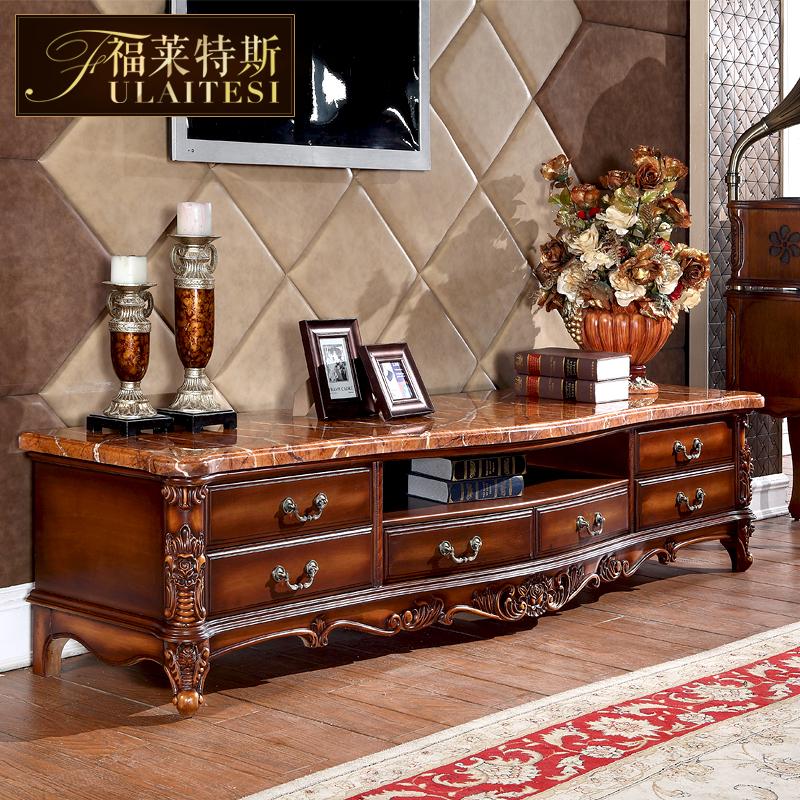 欧式天然大理石电视柜仿古全实木雕花美式地柜带抽