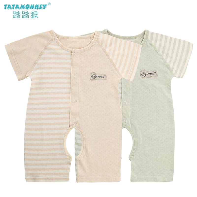 衣夏薄款儿女个月男新生婴儿短袖连体纯棉宝宝