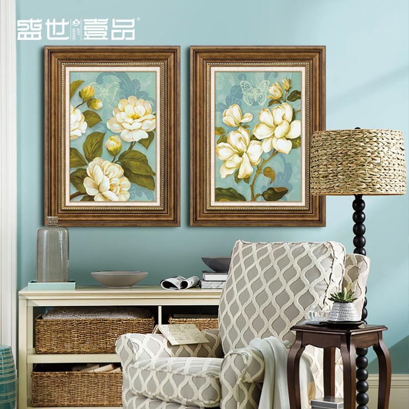美式乡村装饰画客厅沙发背景墙画三联画卧室壁画田园